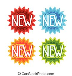 New Shopping Stickers Set Best Price Discount Sale Concept
