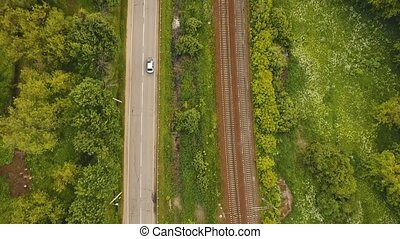 Aerial view over railway - Aerial view Railway and highway,...