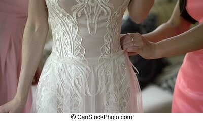 Wearing wedding dress - Wearing white wedding dress indoors
