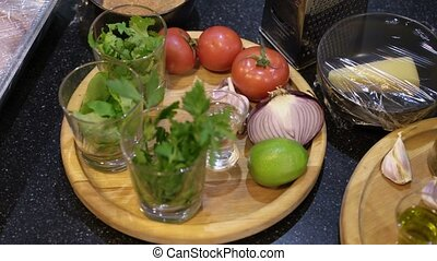 Vegetables on a kitchen ready for cooking