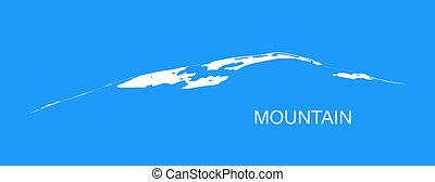 Snow mountains peak logo. Blue background.