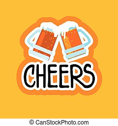 Cheers Sticker Social Media Network Message Badges Design