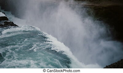 Beautiful view of the Gullfoss waterfall in Iceland....