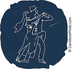 Couple man and woman dancing tango in the night sky. Star, comet, dance silhouette. Flat.