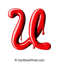 Glossy red letter U uppercase. 3D rendering font with glint...