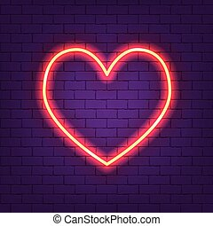 Glowing neon heart vector