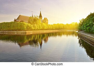 Cathedral of Konigsberg on a summer evening. Kaliningrad,...