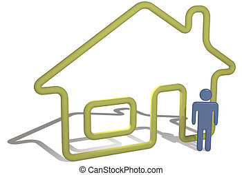 Home person stands by 3D symbol house outline - A glossy 3D...