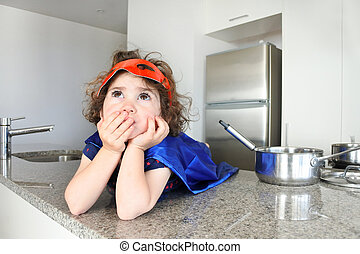 Superhero girl thinks about what to eat or cook - Little...