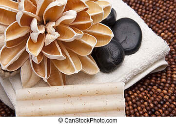 Spa Scene - Spa scene with paper lotus flower, massage...