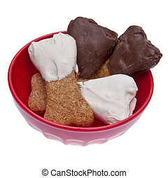 Chocolate Dipped Dog Treats - Chocolate dipped dog treats in...