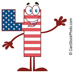 Happy Patriotic Number Four In American Flag Cartoon Mascot Character Waving For Greeting