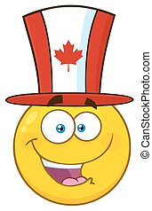 Happy Patriotic Yellow Cartoon Emoji Face Character Wearing A Canadian Maple Leaf Hat