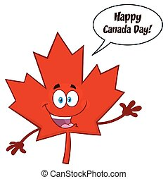 Happy Canadian Red Maple Leaf Cartoon Mascot Character Waving For Greeting