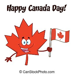 Happy Canadian Red Maple Leaf Cartoon Mascot Character Holding An Canadian Flag