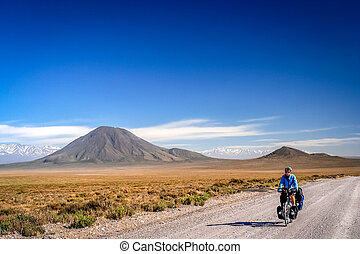 Cycling Ruta 40 - Woman cycling on the famous national Ruta...