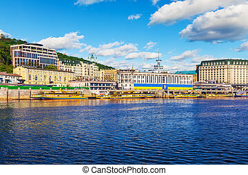Dnieper River embankment in the Old Town of Kyiv, Ukraine -...