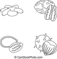 estilo, Conjunto, Clases, contorno, iconos, semillas, tela,...