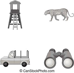 Observation tower for the hunter, leopard, hunting machine, binoculars. African safari set collection icons in monochrome style vector symbol stock illustration web.