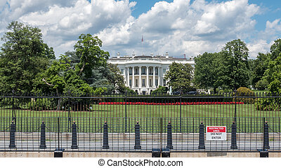 View of White House Behind Iron Fence