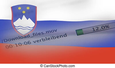 Downloading files on a computer, Slovenia flag - Downloading...