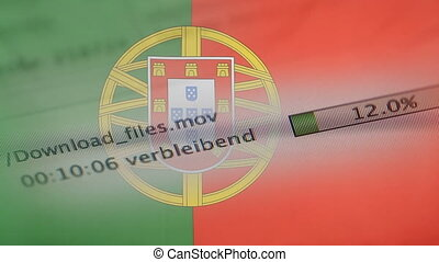 Downloading files on a computer, Portugal flag