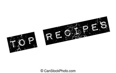 Top Recipes rubber stamp. Grunge design with dust scratches....