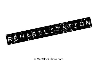 Rehabilitation rubber stamp. Grunge design with dust...