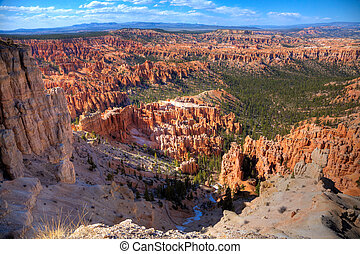 Bryce Canyon - Scenic view of Bryce Canyon, Utah showing...