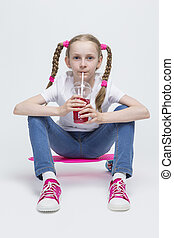 Kids Concepts. Little Caucasian Blond Girl Posing with Pink...