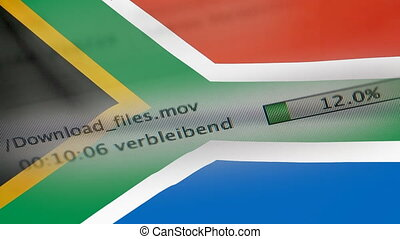 Downloading files on a computer, South Africa flag -...