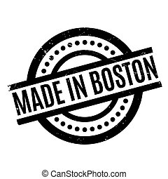 Made In Boston rubber stamp. Grunge design with dust...