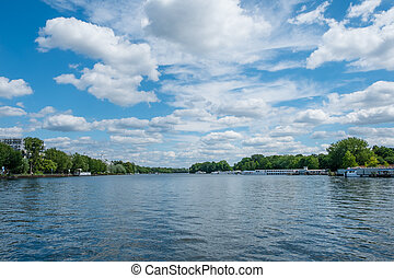 lake landscape - river spree with tour boats and beautiful...
