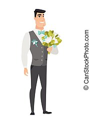 Young caucasian groom with a bridal bouquet. Merry smiling...