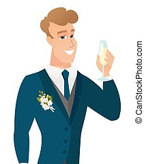 Young caucasian groom holding glass of champagne. -...