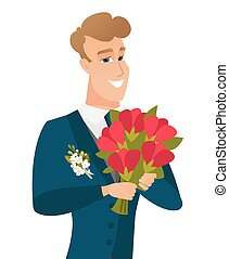 Young caucasian groom with bridal bouquet. - Young caucasian...