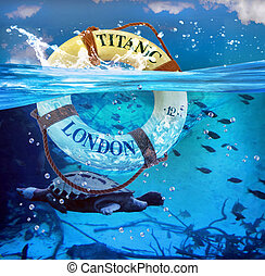 Titanic Lifesaver. - Titanic lifesaver in blue ocean water.