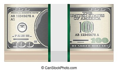 pack of $100 banknotes on a white background