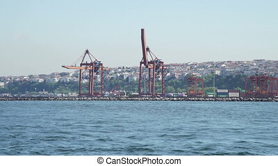 View of Bosphorus, port and city landscape - Turkey....
