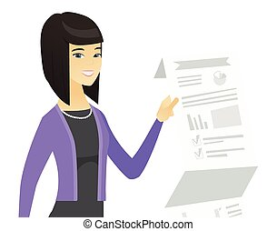 Asian business woman presenting business report.