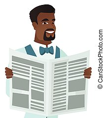 Young african-american groom reading newspaper. -...