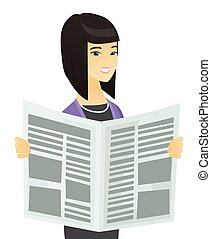 Asian business woman reading newspaper.