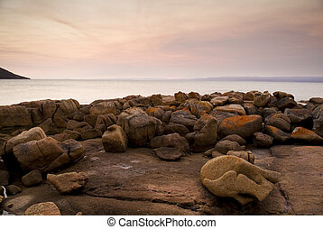 Pastel Rocks at Sunset - Sunset over Great Oyster Bay from...