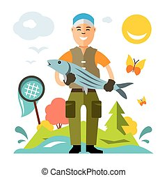 Vector Fishing. Fisherman with big fish. Flat style colorful...