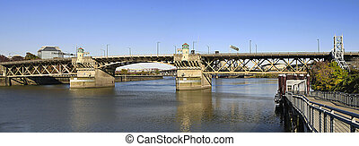 Burnside Bridge Over Willamette River Portland Oregon...