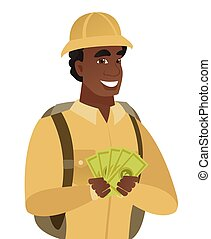 Young african-american traveler holding money.