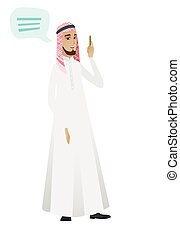 Young muslim businessman with speech bubble. - Muslim...