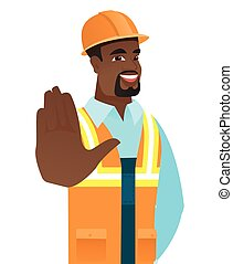African-american builder showing palm hand.