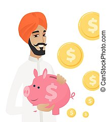 Hindu businessman holding a piggy bank.