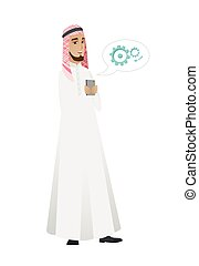 Muslim businessman holding a mobile phone. - Happy...